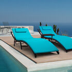 3 Pcs Adjustable Pool Chaise Lounge Chair Outdoor Patio Furniture Blue Cushion