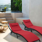 3 Pcs Adjustable Pool Chaise Lounge Chair Outdoor Patio Furniture W Red Cushion