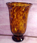 Art Glass Amber Leopard Tortoise Shell Hand Blown Vase 9 7 8 Inches Tall Vintage