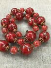 Vintage Venetian Murano Red Sommerso Avventurina Red Copper Beaded Necklace