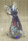 Vtg Murano Millefiore Cat Glass Paperweight Figurine Layered Silver Blue Green