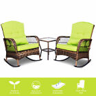 3 Pieces Patio Conversation Set with 2 Rattan Wicker Rocking ChairsGlass Table