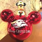 Disney Cruise Lines Ornament Captain Mickey Ear Icon Glass Large Red HTF RARE