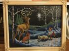 Finished cross stitch Silent Night Star Needlepoint Completed Deer Snowy Night