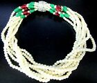 Stunning Faux Pearl Red  Green Glass Bead Mogul Vintage Torsade Necklace