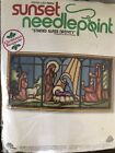 Vintage Sunset Needlepoint Kit Christmas Stained Glass Nativity Stay Home Craft