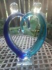 Dale Tiffany Blue Cobalt Heart Shaped Art Glass Sculpture Unique Art Hand Blown
