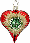 Inge Glas Reflector Heart Red 10220S019C German Glass Orn NEW w FREE Gift Box