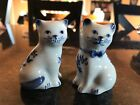 Vintage Salt And Pepper Shakers White and Blue Cats Measures 2 1 2  Tall
