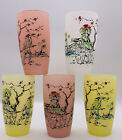 VTG Frosted Asian Pastel Gay Fad Style Chinoiserie Drinking Glasses Set of 5