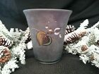 FENTON ART GLASS BERRY CONFECTION AUBERGINE FLIP VASE HAND PAINTED  SIGNED BNIB