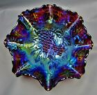 Imperial GRAPE SUPERB ELECTRIC Purple Carnival Glass 11 Ruffled Fruit Bowl 7715