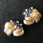 VINTAGE BOUCHER EARRINGS SAPPHIRE BLUE GLASS CABOCHON  RHINESTONE CLIP SIGNED
