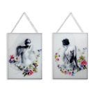 Adriana and Sophie Set of 2 Framed Glass Prints Wall Art