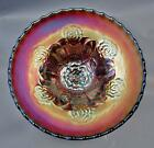 Dugan DOUBLE STEM ROSE Amethyst Carnival Glass Dome foot ICS 8 Bowl 7728