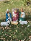 Vintage Christmas Blow Mold Nativity Scene General Foam 6 Piece Outdoor Set
