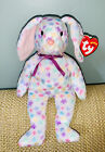 Ty Beanie Babies Springfield Rabbit - White with colored flowers