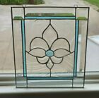 Beautiful Aqua Clear Beveled and Stained Glass Window Panel