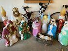 Vintage Blow Mold Nativity Set Baby Jesus Mary Joseph Wise Men Shepherd Angel