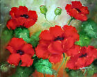 Red Poppy Flower Garden Blossoms Buds 20X24 Oil On Canvas Painting STRETCHED