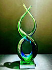 Murano Sommerso Art Glass Emerald Green  Ocean Blue 13 Free Form Sculpture