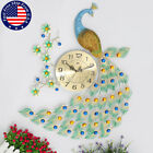 6575CM Peacock Diamond Wall Mounted Metal Clock Living Room Home Office Decor