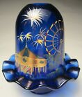 Fenton two piece Fairy Lamp Light Hand Painted Country Fair on Cobalt 2005 QVC