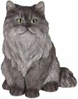 Large Lifelike Sitting Grey Persian Cat Statue 12 Tall with Glass Eyes Figurine