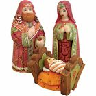 Nativity Set Russian Carved Wood 3pc