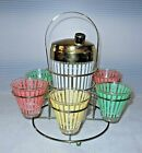 Mid Century Vintage Barware Martini Pastel Striped Glass Shaker Caddy Set of 7