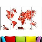 Design Art Red Map Canvas Art Print Extra Large