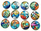 ASSORTED 12 pcs CIRCLE DICHROIC FUSED GLASS pendant i19 CABS MOSAIC TILE KNOBS