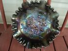 IMPERIAL Carnival Glass Bowl Footed Bowl SMOKE Amethyst Roses Rose