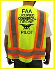 FAA LICENSED COMMERCIAL DRONE PILOT SAFETY REFLECTIVE SAFETY GREEN VEST NEW