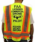 FAA LICENSED COMMERCIAL DRONE PILOT HI VISIBILITY SAFETY GREEN VEST NEW