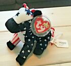 NWT Ty Beanie Baby LEFTY 2000 Plush Red White and Blue Patriotic Donkey