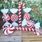 Giant Red  White Glitter Candy Cane or Sweet Christmas Tree Display Decorations