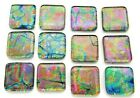 RAINBOW 12 pcs SQUARE DICHROIC FUSED GLASS pendants H11 CABOCHONS HANDMADE