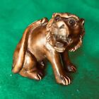 Vintage hand carved boxwood Netsuke of Tiger with Glass Bead Eyes