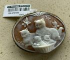 Vermeil Cat Family Cameo Pendant Pin Signed Circa 1950s 95