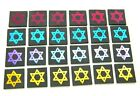 STAR OF DAVID SET OF 24 ETCHED DICHROIC GLASS ED17 CBS COE 90 FUSING SUPPLY