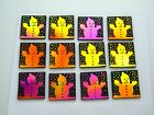 SNOWMAN SET OF 12 ETCHED DICHROIC GLASS EC24 CBS COE 90 FUSING SUPPLY