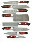 8pieces Handmade HAND FORGED DAMASCUS STEEL CHEF KNIFE Set KITCHEN Knives SET