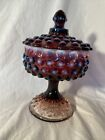 Vintage Fenton Hobnail Covered Candy Dish In Plum Opalescent
