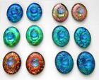 set of 12 OVAL DICHROIC FUSED GLASS N2 CAB MOSAIC PENDANT CABOCHON
