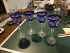 4 German Echt Bleikristall Bohemian Wine Glass Cut to Clear Crystal to Blue