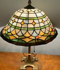 VINTAGE 19 ART DECO BRASS BASE LAMP W 13 1 2 DIAMETER STAIN GLASS SHADE