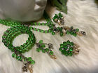 Miriam Haskell Early Exceptional Green Glass Mint Set A13
