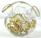 Antique Moser Clear Glass Gold Enameled Hand Blown Decorated Bowl