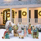 Nativity Scene Set Christmas Outdoor Decor 9 Piece Hand Sculpted Hand Painted